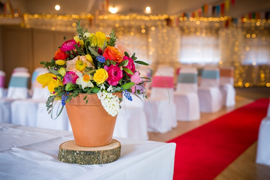 Bright Flowers in Terracotta Pot Wedding