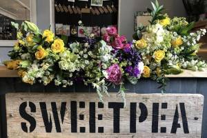 Sweetpea Sign and Flowers