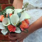 Brides Bouquet Calla and Coral Rose